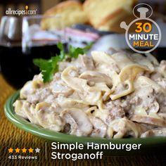 "Simple Hamburger Stroganoff   ""Rich, creamy, and tasty. The trifecta of yumminess."""