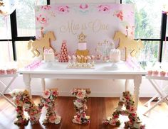 """Floral Carousel / Birthday """"Mia's Floral Carousel First Birthday"""" 