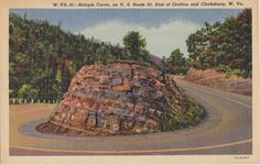 Hairpin Curve 1940s Vintage Postcard U S Route by EphemeraObscura