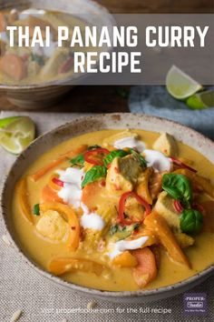 A creamy and aromatic Thai Panang Curry made with juicy chunks of chicken, crushed peanuts and a sweet Thai yellow curry paste. The spice in this Thai panang curry is balanced out with cool yogurt and sweet coriander, and it can be ready and on the table in just 30 minutes. Thai Panang Curry, Panang Curry Recipe, Massaman Curry Paste, Thai Curry Recipes, Fish Recipes, Chicken Recipes, Sweets Recipes, Vegetarian Fish Sauce, Thai Yellow Curry Paste