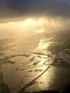 Flooding in January 2016 at Porthmadog, north Wales. Photo taken by air ambulance crew.