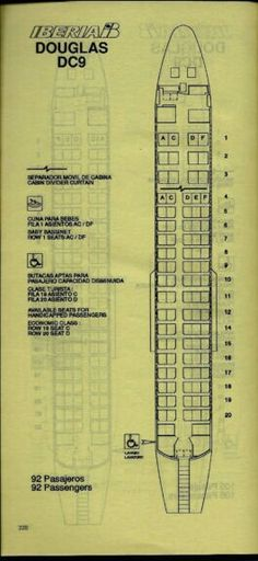 Iberia DC-9 Seating Chart from Timetable