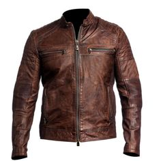 Item Description  Mens Biker Vintage Motorcycle Distressed Brown Cafe Racer Leather Jacket  Features :  Material : Real Leather Gender: Male Color: Brown Front: Front Zip Closure Collar: Low Collar Lining: Viscose Lining Cuffs: Zipper Cuffs Poc...