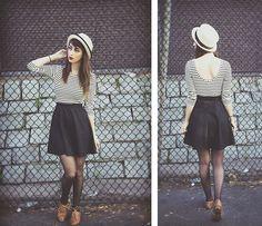 Forever 21 Hat, Forever 21 Striped Scoop Back Shirt, Target Black High Waisted Skirt, H&M Black Dot Tights, Brown Oxfords