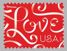 Jessica Hische Love stamp for the USPS