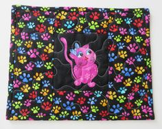 Cool Cat Quilted Mug Rug Children's Quilted by LunettaQuilts