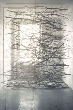 Stage-- Use of hanging branches and material... Veil by Maren Hassinger, 1987. Fabric, branches, and wire rope.