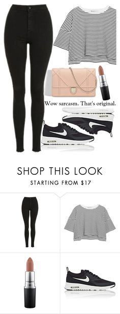 """""""Untitled #1872"""" by mihai-theodora ❤ liked on Polyvore featuring Topshop, T By Alexander Wang, MAC Cosmetics and NIKE"""