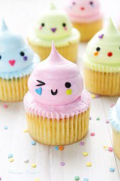 These cupcakes make me happy! Cute Cupcakes, Cupcake Cookies, Cupcakes Princesas, Cake Pops, Kawaii Cooking, Kawaii Dessert, Cute Desserts, Food Humor, Creative Cakes