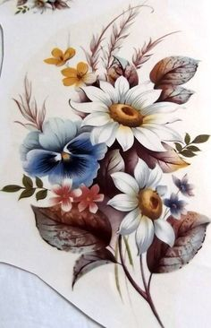 """#A626 Ceramic Waterslide Decals 2 WHITE DAISY N PANSY  8"""""""