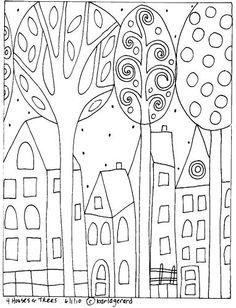 RUG HOOKING PAPER PATTERN 4 Houses Trees by KARLA G | eBay