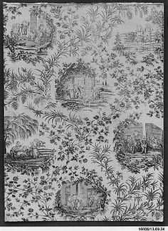Pictorial print Bromley Hall Date: ca. 1790 Culture: British, London Medium: Cotton Dimensions: L. 37 3/4 x W. 27 1/2 inches 95.9 x 69.9 cm ...
