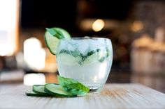 Gin and tonic with cucumber, basil and a squeeze of lime...mmm refreshing