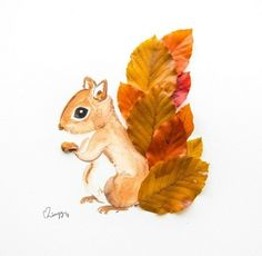 Cheeky Squirrel A curious squirrel with a fluffy tail made of brown copper beech leaves. This cheeky little one definitely complements an earth toned room. Specifications Illustrated art print from an original watercolor painting. Autumn Crafts, Fall Crafts For Kids, Nature Crafts, Toddler Crafts, Preschool Crafts, Art For Kids, Kids Crafts, Fall Leaves Crafts, Autumn Art Ideas For Kids