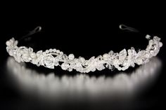 Pearl Bridal Headband with Twisted Crystal and Rhinestone Leaves