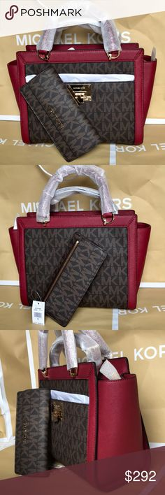 Michael Kors Set 100% Authentic Michael Kors Large Hand Bag or Crossbody, brand new with tag!color Brown/Cherry. Michael Kors Bags Crossbody Bags