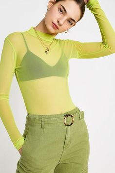 Shop UO Neon Long-Sleeve Mesh Funnel Neck Top at Urban Outfitters today. Powerpuff Girls Costume, Neon Top, Sheer Mesh Top, Fishnet Top, Neon Outfits, Funnel Neck, Festival Outfits, Sleeve Styles, Fitness Models