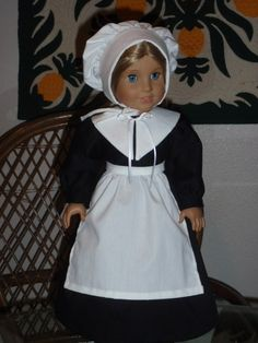 Early Colonial 4 Pc Pilgrim Costume Outfit by alohagirldollclothes, $40.00
