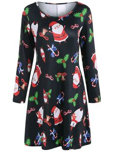 Long Sleeve Santa Print Christmas Dress in Black | Sammydress.com