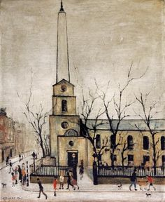 Laurence Stephen Lowry, R. St Luke's Church, Old Street signed and dated 'L. LOWRY (lower left) oil on canvas 24 x 18 in. Salford, English Artists, French Artists, Engraving Illustration, Illustration Art, Illustrations, Nostalgic Art, Spencer, Old Street