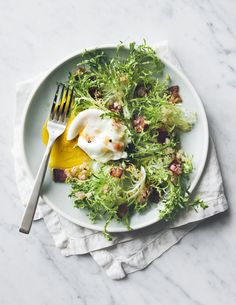 {Poached egg salad.}