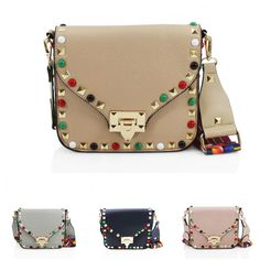 Ladies Fashion V Flap Studded Cross Body Women Shoulder Bags With Aztec Straps
