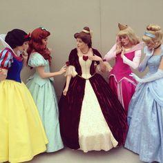 Snow White, Ariel, Aurora, and Cinderella Love Belle's Dress