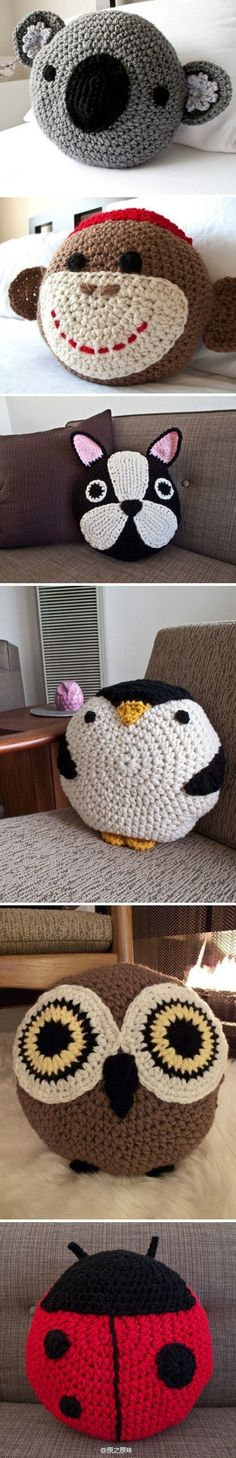 Crochet animal pillows