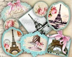 I love Paris digital collage sheet set of 9 by bydigitalpaper