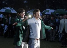 Bubba slipping the Green Jacket on Adam!