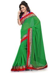 Green Color Wrinkle Chiffon Function & Party Wear Sarees : Nutan Collection  YF-41337