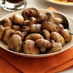 Steakhouse Mushrooms  •1/4 cup butter, cubed  •1 pound medium fresh mushrooms  •2 teaspoons dried basil  •1/2 teaspoon dried oregano  •1/2 teaspoon seasoned salt  •1/4 teaspoon garlic powder  •1 teaspoon browning sauce, optional    In a large skillet, heat butter over med-high heat. Add 'shrooms; cook & stir until tender. Stir in seasonings and (optional) browning sauce. Reduce heat to medium; cook covered, 3-5 mins to allow flavors to blend.