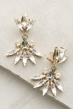New jewelry arrivals - #anthroregistry Fanned Crystal Earrings - anthropologie.com