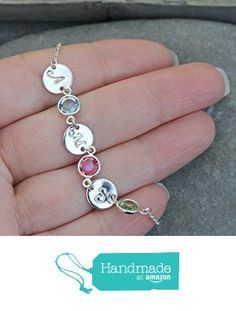 Sterling silver personalized initial bracelet with Swarovski Birthstones, custom stamped discs, family mom mother grandmother grandma from potionumber9 https://www.amazon.com/dp/B01E1TX19W/ref=hnd_sw_r_pi_dp_8.ibyb97V12A8 #handmadeatamazon