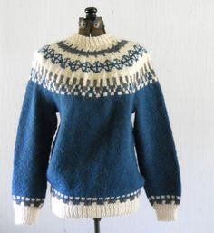 Vintage Handknit Icelandic Sweater Teal Blue by HazeyJaneVintage SOLD