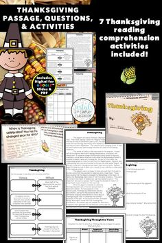 Thanksgiving Passage, Questions, and Activities comes with a Thanksgiving passage about Thanksgiving history and traditions. After reading the passage, there are 7 reading comprehension activities for students to complete. #vestals21stcenturyclassroom #thanksgivingpassage #thanksgivingactivities #thanksgivinghistory #thanksgivingactivitiesforschool #thanksgivingactivitiesforstudents #thanksgivingworksheets