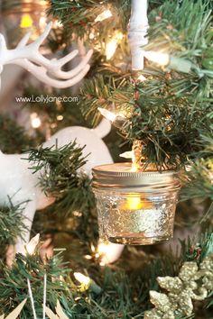 DIY Ball Mason Jar Christmas Ornaments by @LollyJaneBlog