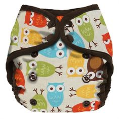 Planet Wise diaper cover in Owl: With a high-quality PUL inner and a 100% cotton outer, this diaper cover has top and bottom waterproof PUL flaps which hold the cloth diaper in place and don't wick, allowing the diaper cover to be used many times between washings. Double gussets are gentle on baby's thighs but contain even the biggest messes, while a double row of waist closure snaps makes for a great fit without wing droop!
