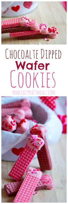 Possible Feb 2018 recipe. Chocolate Dipped Wafer Cookies: These little wafer cookies are both delicious and easy to make. Perfect for a Valentine's Day activity with kids. Valentines Day Activities, Valentines Food, Valentine Treats, Valentine Deserts, Valentine Recipes, Eazy Peazy Mealz, Yummy Treats, Sweet Treats, Wafer Cookies