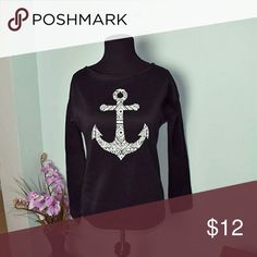 Adorable Black Anchor Long Sleeve Top WORN ONCE! Super soft and cozy! Tops Blouses