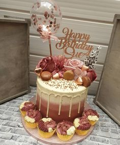 From a few weeks ago as I am still on catch up and still out of action when it comes to baking and responding to messages 🙈 A rose gold… ideas faciles Birthday Drip Cake, Birthday Cake Roses, Elegant Birthday Cakes, 25th Birthday Cakes, Sweet 16 Birthday Cake, Beautiful Birthday Cakes, Birthday Cakes For Women, Birthday Cake Decorating, Birthday Cake Girls