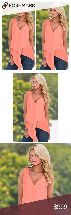 Coming Soon! Beautiful Coral Blouse!  100% Brand New and High Quality Size:S,M,L, Sleeve:Sleeveless Material:Polyester Absolutely gorgeous! Tops Blouses