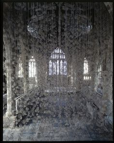 Echo by Susie MacMurray 2006, via Flickr. ....  10,000 hairnets containing strand of used violin bow-hair