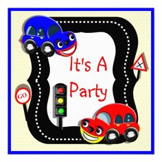 Cute Boys Cars Themed Party Invitation   A cute picture for all those little boys who love playing with cars; in bright colors it's a fun way to announce a birthday party and easy to personalize with your details.