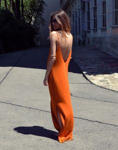@roressclothes closet ideas #women fashion outfit #clothing style apparel Orange Long Dress via