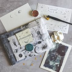 Beautiful tissue galaxy set, handmade space inspired elements – Tissue Wrapped Stargazer Stationery Set – a premium themed gift. Pen Pal Letters, Blue Envelopes, Hand Illustration, Illustrations, Logo Sticker, Writing Paper, Mail Art, Stationery Design, Stargazing