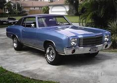 Our new 1970 Monte Carlo looked almost like this, except paler blue. Chevrolet Monte Carlo, General Motors, Classic Chevrolet, Chevrolet Chevelle, Victoria, American Muscle Cars, Hot Cars, Cars Motorcycles, Vintage Cars