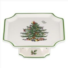 Spode®️️ Christmas Tree Square Footed Cake Plate