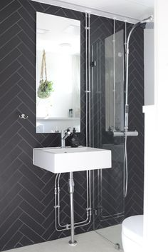 black tiles in bathroom I Design Social Helsinki Black Tiles, Helsinki, Bathroom Lighting, My Design, Wordpress, Vanity, Mirror, Interiors, Furniture