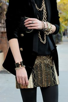 Sweater: Milly. Jacket: Zara. Skirt: Club Monaco c/o. Tights: AA. Booties: Givenchy (old). Sunglasses: Burberry. Jewelry: David Yurman, Plukka, Stella & Dot, Hermes, Pomellato, Michele. Clutch: Anya Hindmarch.